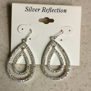 NWT Rhinestone and Silver Earrings